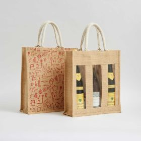 personlised three bottle jute bags with reinforced natural webbed rope handles direct from Ethical bags Supplier