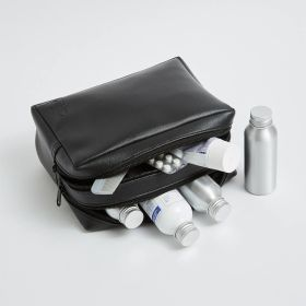 double zip vegan leather wash bag at wholesale  - Direct from an Ethical supplier